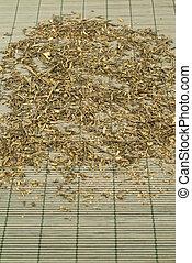 Green tea over bamboo mat