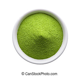 green tea powder in a bowl on white background