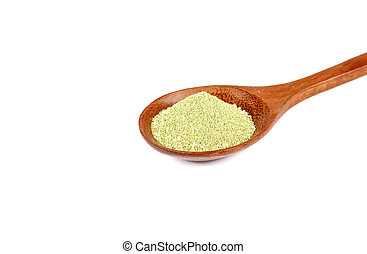 Green tea powder in wooden spoon on white background.