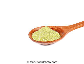 Green tea powder, sugar and cream in wooden spoon on white background.