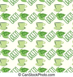 Green tea-seamless pattern.