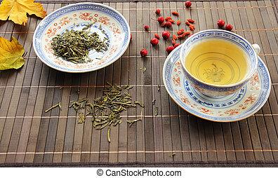 green tea serving