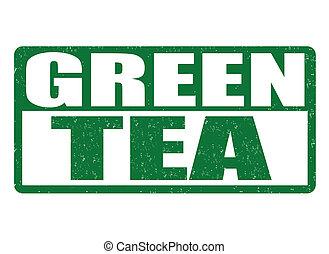 Green tea stamp - Green tea grunge rubber stamp on white...