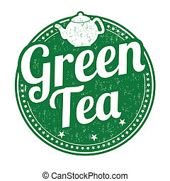 Green tea stamp - Green tea grunge rubber stamp on white ...