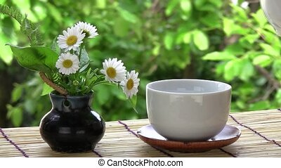 green tea - I poured green tea by a window.