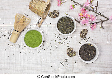 Green Tea - Different types of Japanese green tea leaves and...