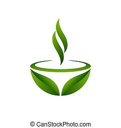 Green tea symbol, vector illustration