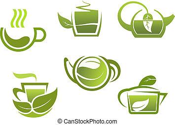Green tea symbols set for restaurant or beverage design
