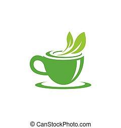 Green tea vector logo illustration