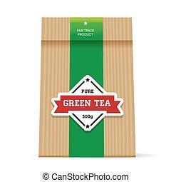 Green Tea vintage packaging vector