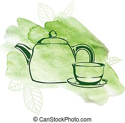Green tea watercolor background - Vector illustrations of...