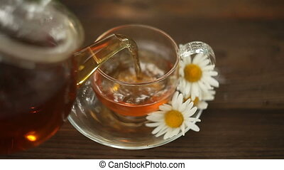 green tea with chamomile in cup