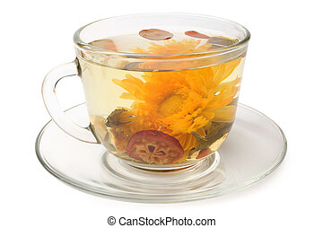 Green tea with chrysanthemum in glass cup