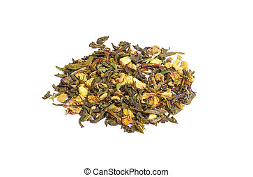 Green tea with dry flowers on white background. Close up