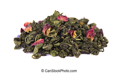 Green tea with dry flowers on white background. Close up.