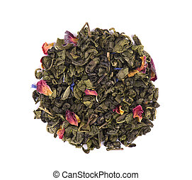 Green tea with dry flowers on white background. Close up. Top view.
