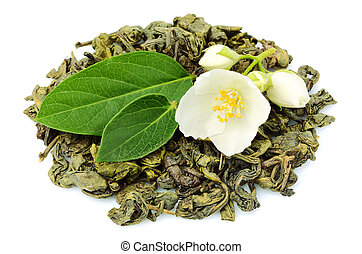 Green tea with Jasmine isolated.