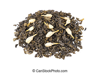 Green tea with jasmine, isolated on white background. Aromatic green dry tea, close up.