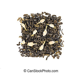 Green tea with jasmine, isolated on white background. Aromatic green dry tea, close up. Top view.