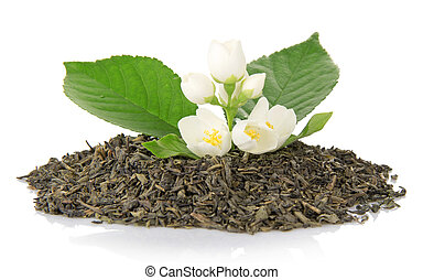 Green tea with leaf and flowers of jasmine