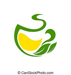 Green tea with lemon and herbal leaves