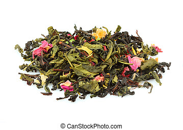 Green tea with roses and berries. Dry flowers, leaves and herbs.