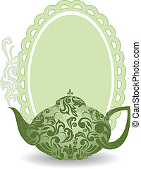 Green teapot - green teapot with a beautiful ornament and...