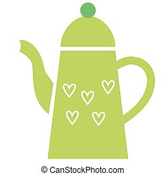 Green teapot flat illustration on white