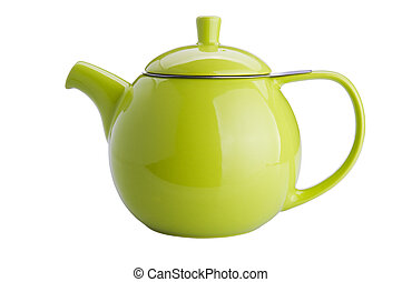 teapot - green teapot isolated on white background