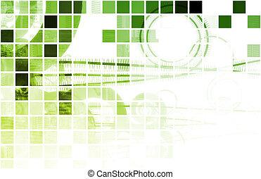 Green Techno Organic Background as Digital Art