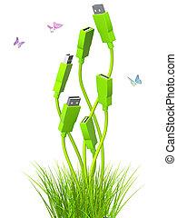 Green technology - Conceptual image - green technology. 3d