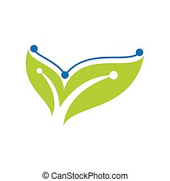 Green Technology logo designs concept, leaf technology logo design