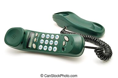 Green telephone - Green phone with the taken off tube on a...