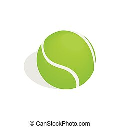 Green tennis ball icon, isometric 3d style