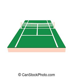 Green tennis court icon, cartoon style