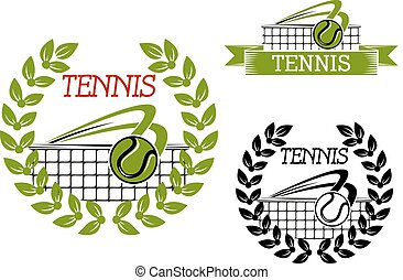 Green tennis sports game icon or symbol