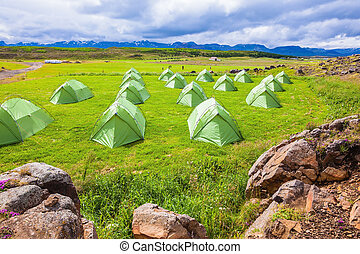 Green tent Boy Scout camp