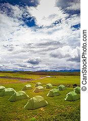 Green tent camp athletes
