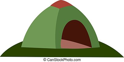 Green tent, illustration, vector on white background.