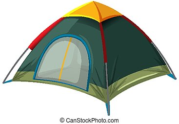 Green tent on white background