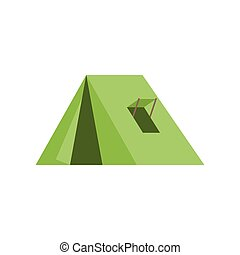 green tent with window for camping icon