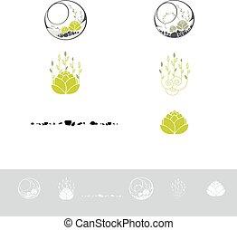 Green Terrarium With Plants Logo Design Set - Green...