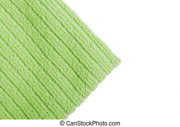 Green terry towel on a white background.