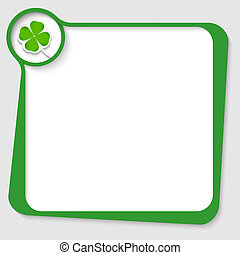 green text box with cloverleaf
