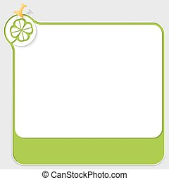 Green text box with pushpin and cloverleaf