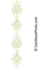 Green textile damask flower vertical border seamless pattern...