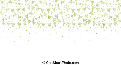 Green Textile Party Bunting Horizontal Seamless Pattern Background