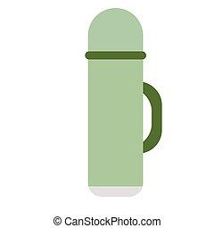 Green thermos flat illustration on white