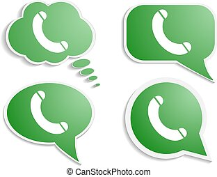 green think bubble phone icon