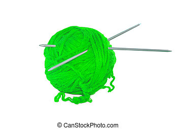 Green thread ball isolated on white